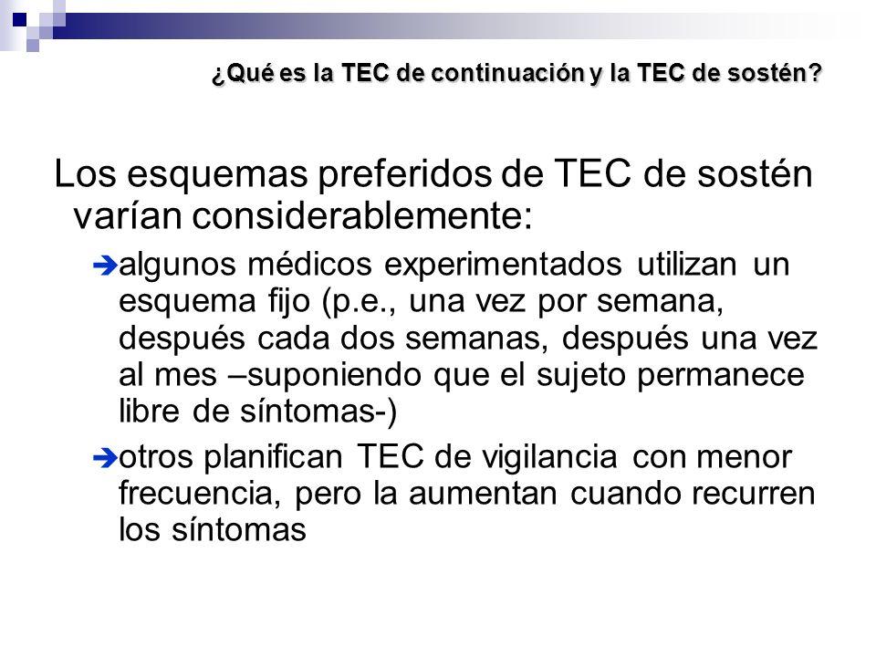¿Qué es la TEC de continuación y la TEC de sostén