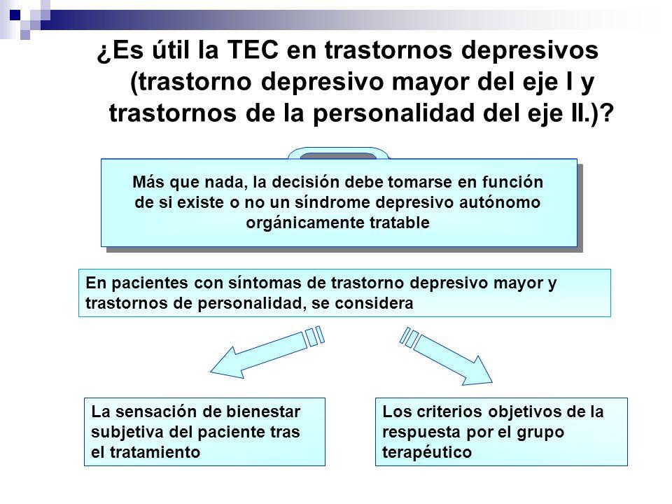 ¿Es útil la TEC en trastornos depresivos (trastorno depresivo mayor del eje I y trastornos de la personalidad del eje II.)