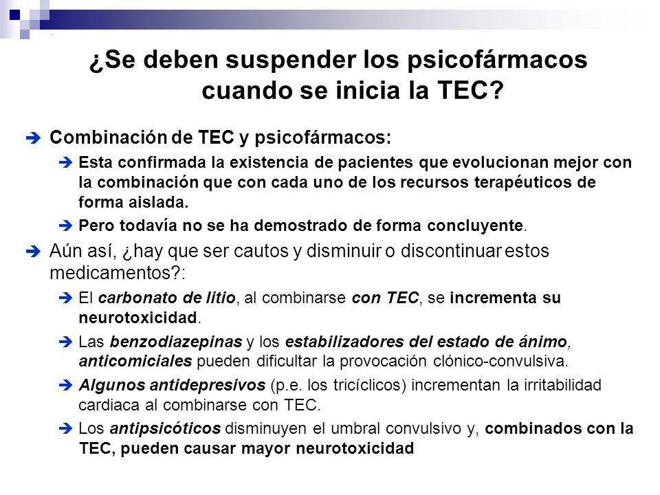¿Se deben suspender los psicofármacos cuando se inicia la TEC