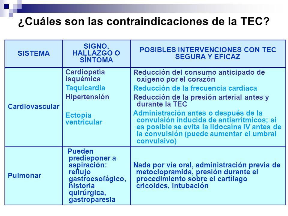 ¿Cuáles son las contraindicaciones de la TEC
