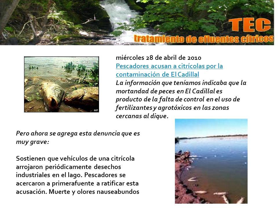 miércoles 28 de abril de 2010 Pescadores acusan a citrícolas por la contaminación de El Cadillal.