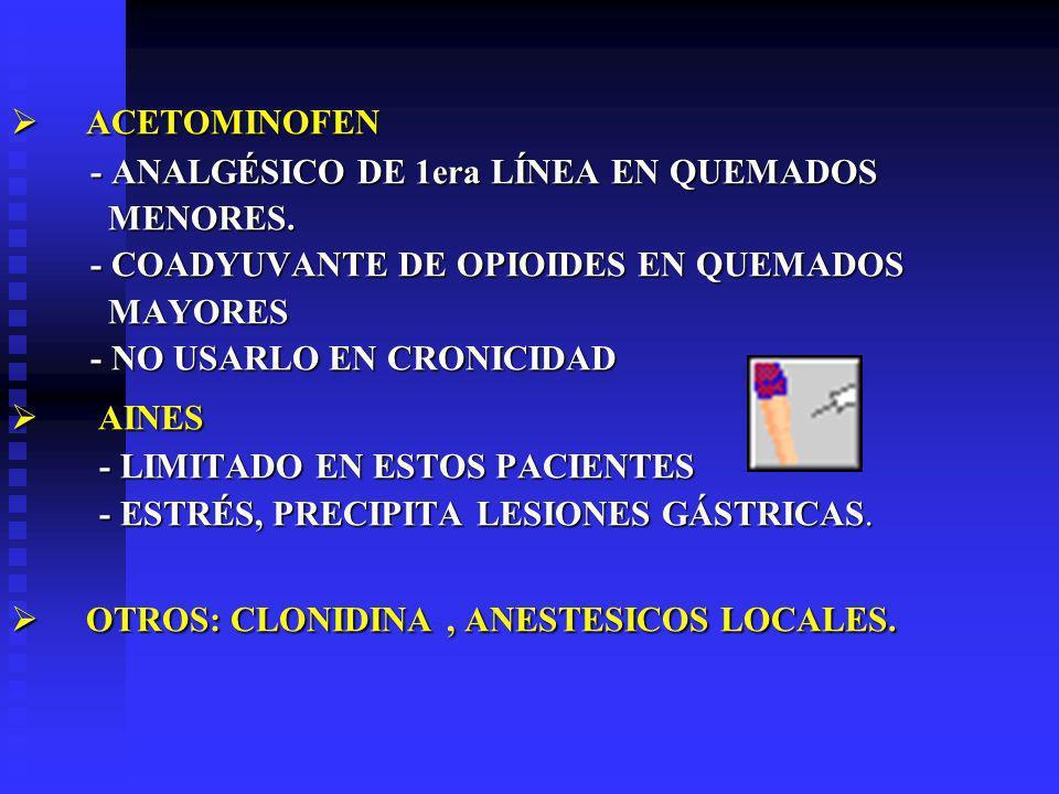 OTROS: CLONIDINA , ANESTESICOS LOCALES.