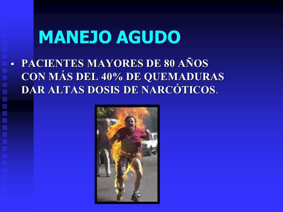 MANEJO AGUDO PACIENTES MAYORES DE 80 AÑOS CON MÁS DEL 40% DE QUEMADURAS DAR ALTAS DOSIS DE NARCÓTICOS.