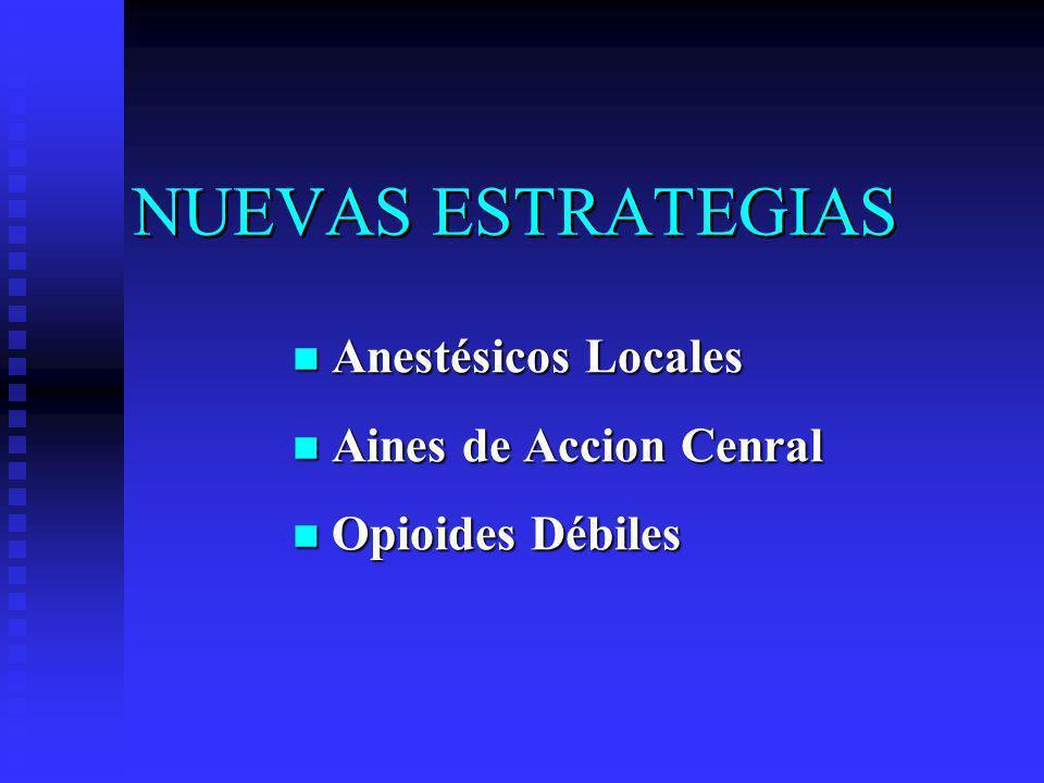 NUEVAS ESTRATEGIAS Anestésicos Locales Aines de Accion Cenral