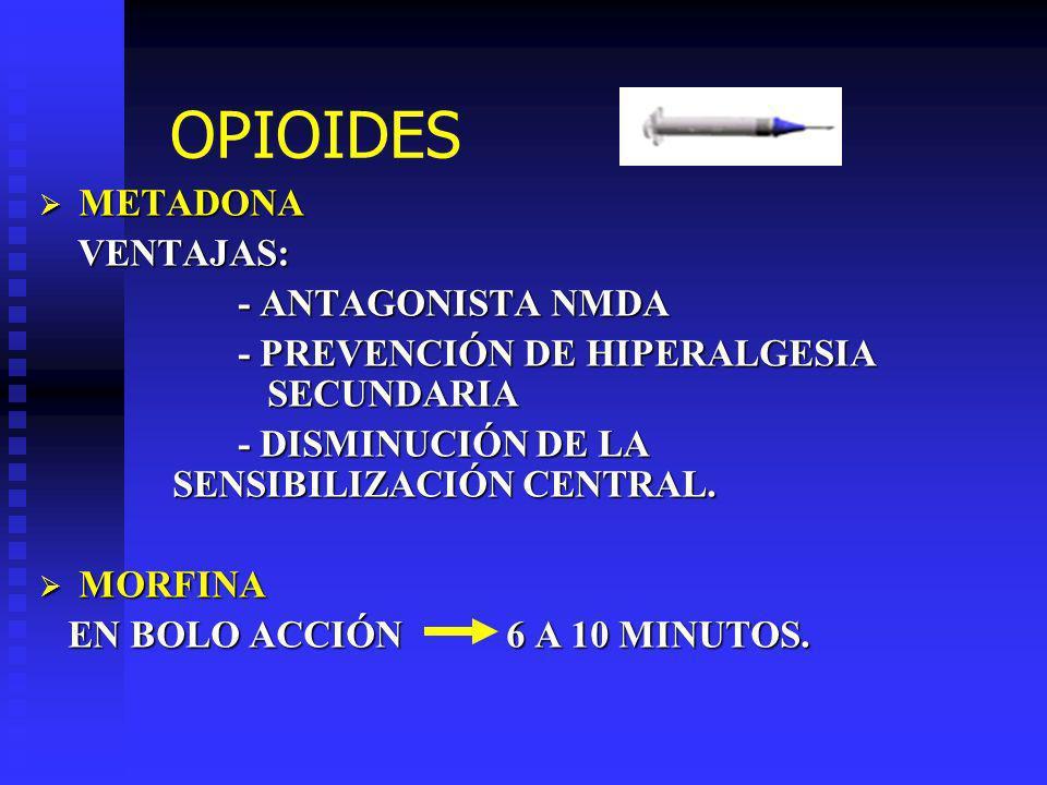 OPIOIDES METADONA VENTAJAS: - ANTAGONISTA NMDA