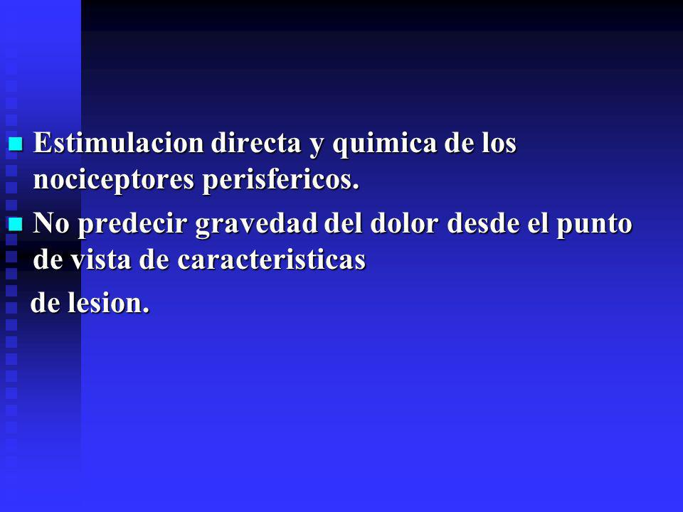 Estimulacion directa y quimica de los nociceptores perisfericos.