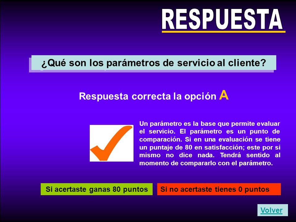 RESPUESTA ¿Qué son los parámetros de servicio al cliente