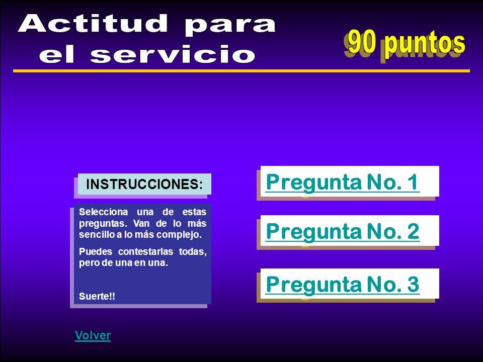 Actitud para el servicio 90 puntos Pregunta No. 1 Pregunta No. 2