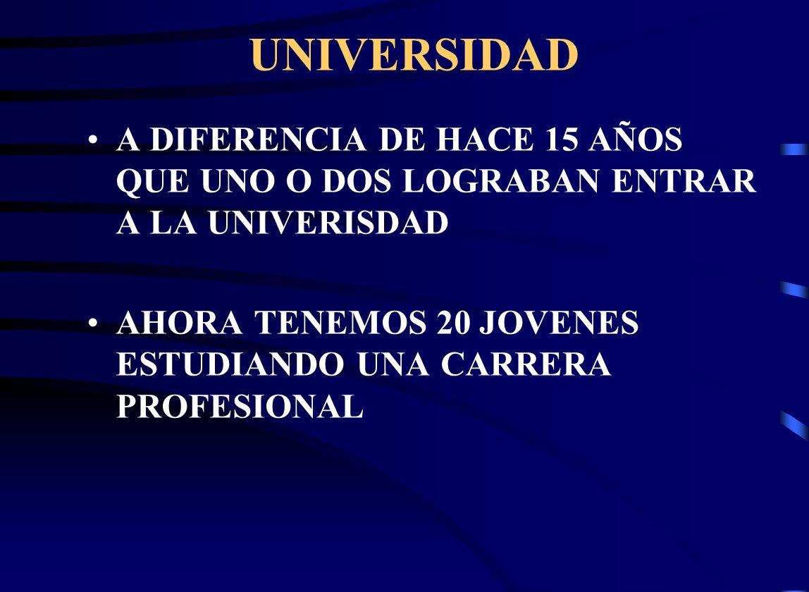 UNIVERSIDAD A DIFERENCIA DE HACE 15 AÑOS QUE UNO O DOS LOGRABAN ENTRAR A LA UNIVERISDAD.