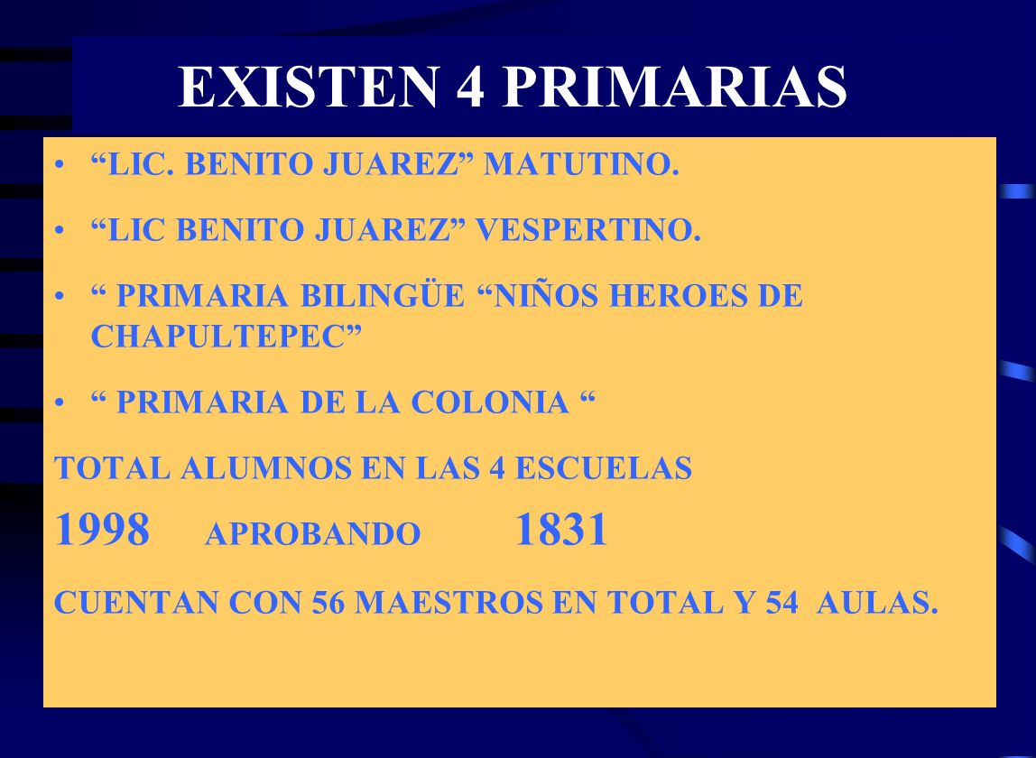 EXISTEN 4 PRIMARIAS 1998 APROBANDO 1831 LIC. BENITO JUAREZ MATUTINO.