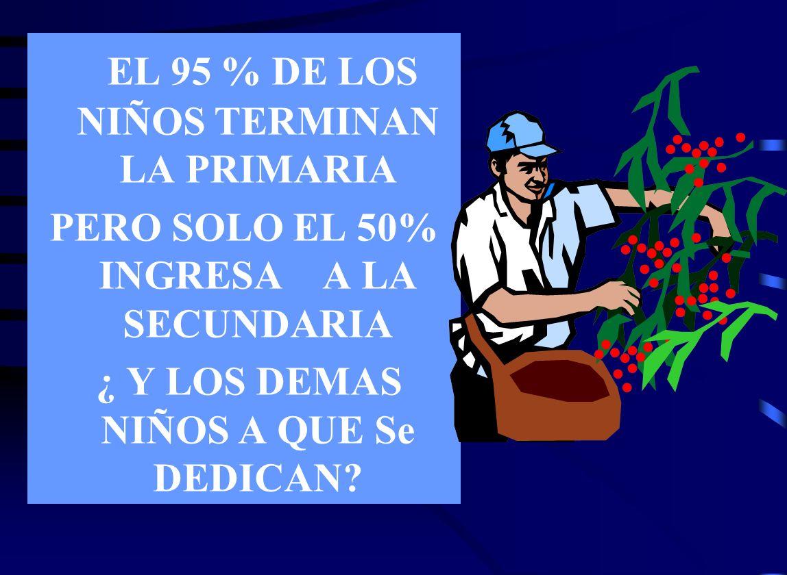 EL 95 % DE LOS NIÑOS TERMINAN LA PRIMARIA
