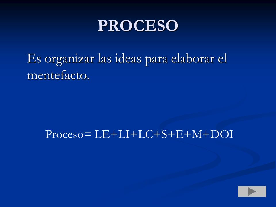 PROCESO Es organizar las ideas para elaborar el mentefacto.