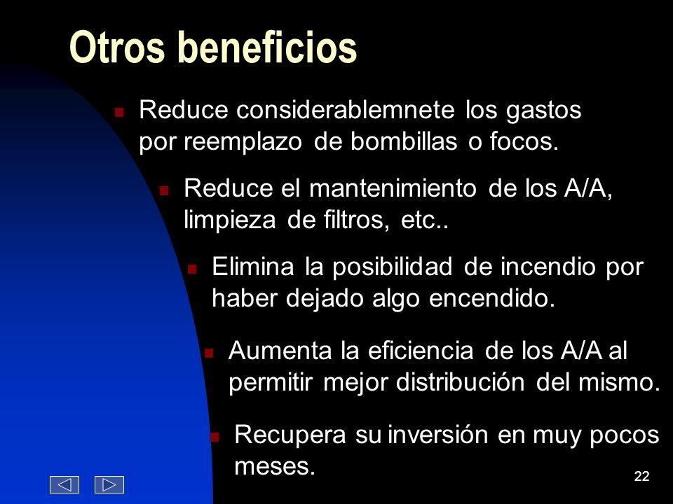 Otros beneficios Reduce considerablemnete los gastos por reemplazo de bombillas o focos.