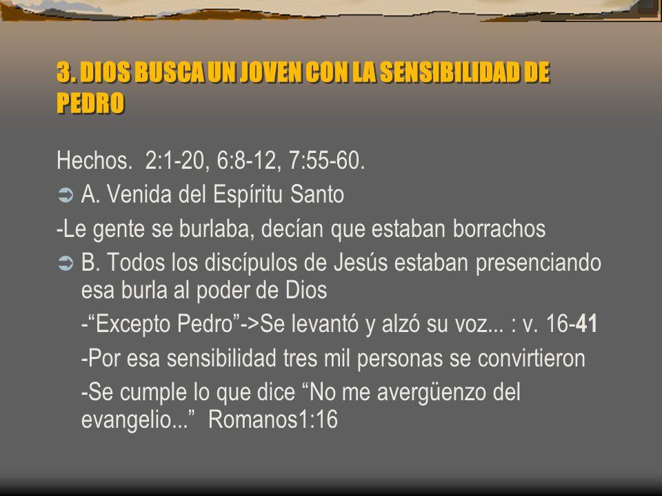 3. DIOS BUSCA UN JOVEN CON LA SENSIBILIDAD DE PEDRO