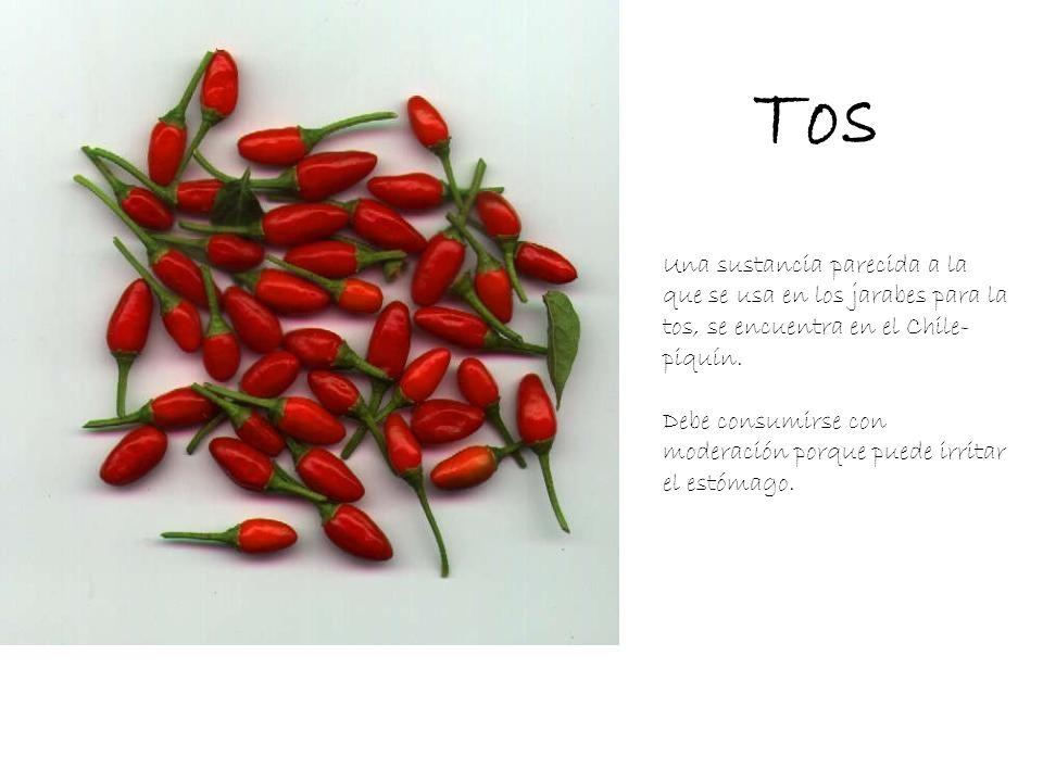 Tos Una sustancia parecida a la que se usa en los jarabes para la tos, se encuentra en el Chile-piquín.