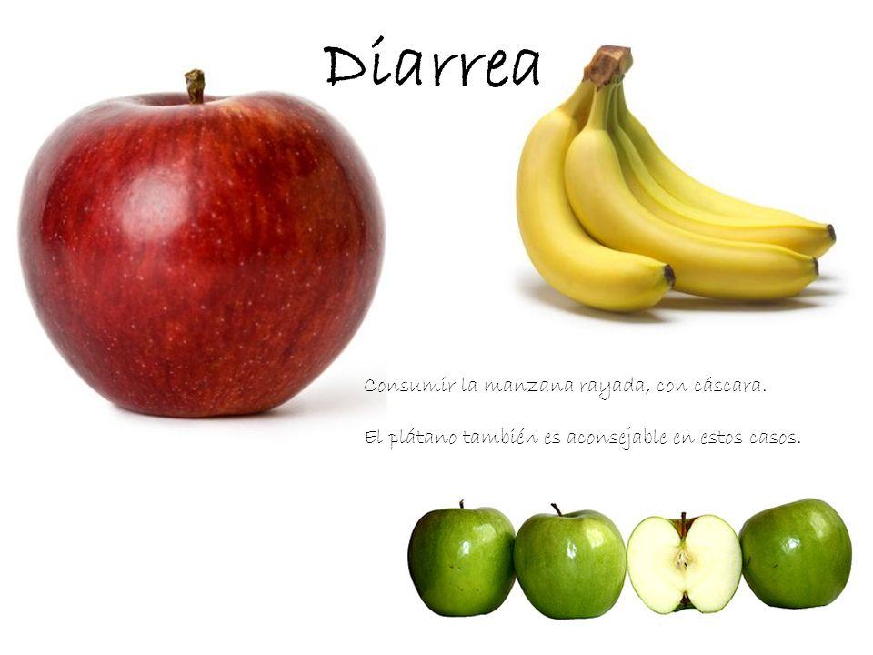 Diarrea Consumir la manzana rayada, con cáscara.