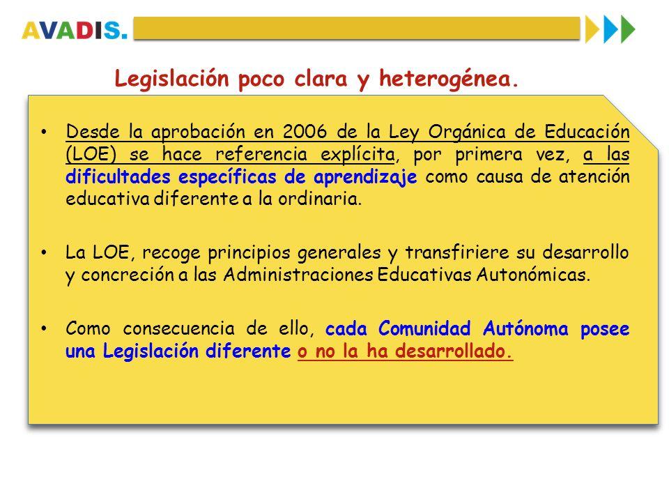 Legislación poco clara y heterogénea.