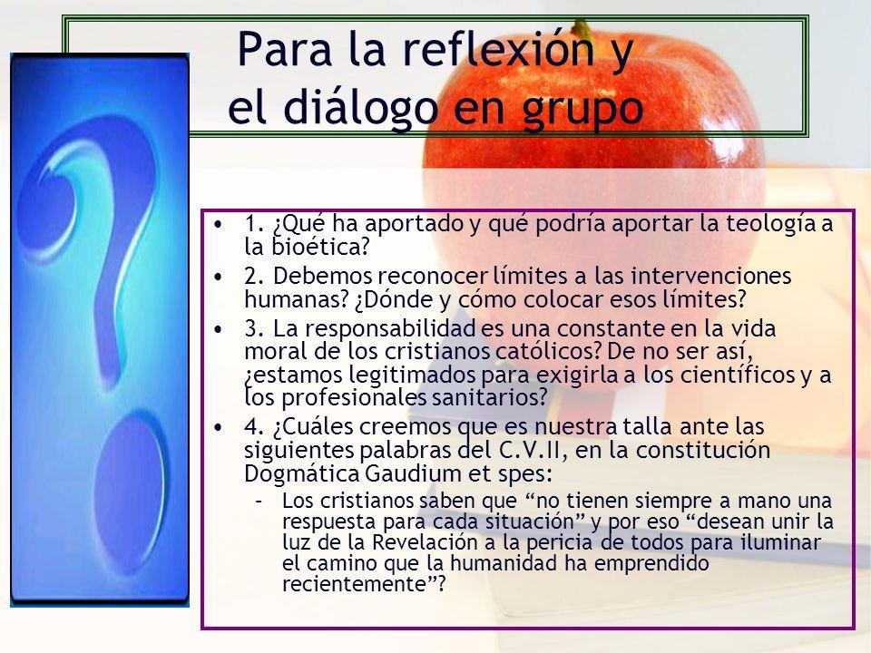 Para la reflexión y el diálogo en grupo