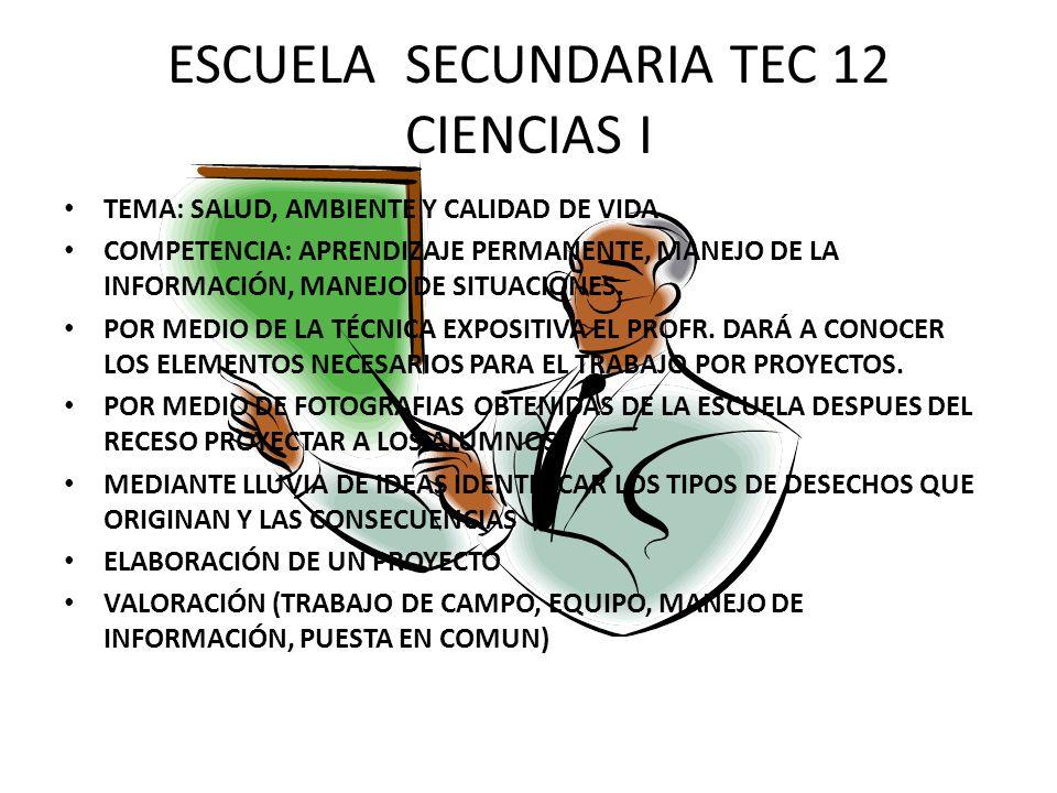 ESCUELA SECUNDARIA TEC 12 CIENCIAS I