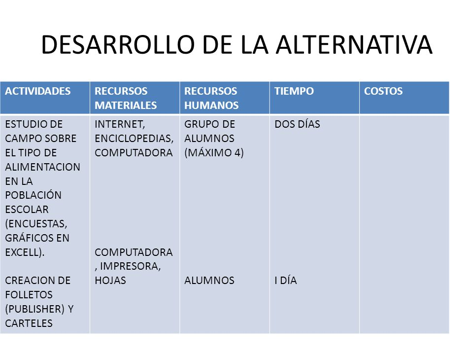 DESARROLLO DE LA ALTERNATIVA