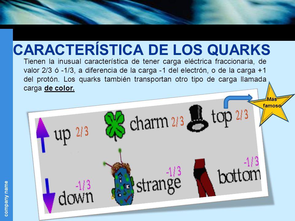 CARACTERÍSTICA DE LOS QUARKS