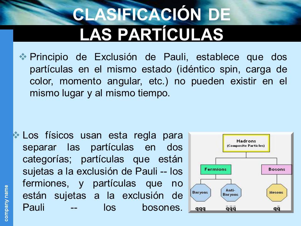 CLASIFICACIÓN DE LAS PARTÍCULAS
