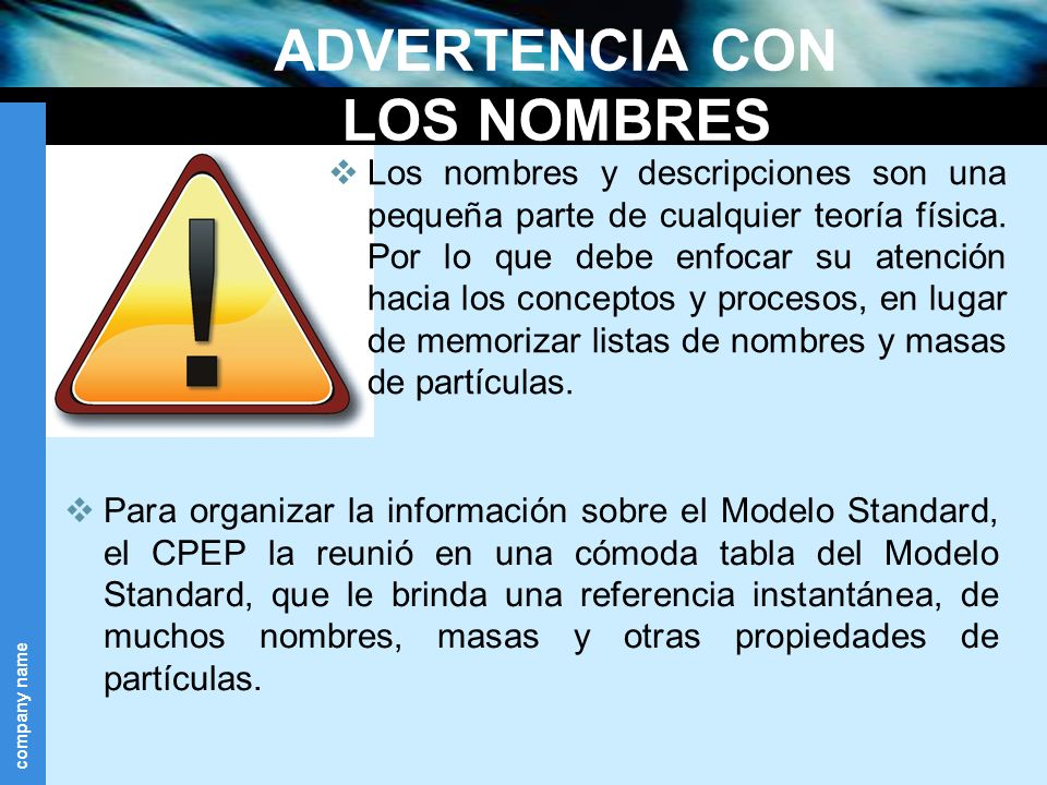 ADVERTENCIA CON LOS NOMBRES