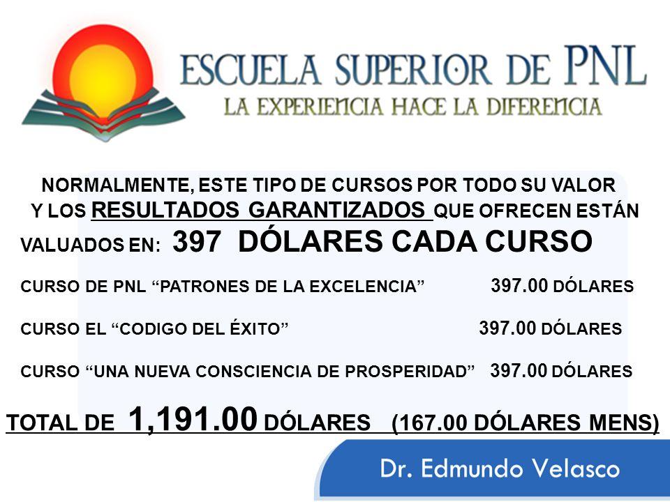 TOTAL DE 1,191.00 DÓLARES (167.00 DÓLARES MENS)