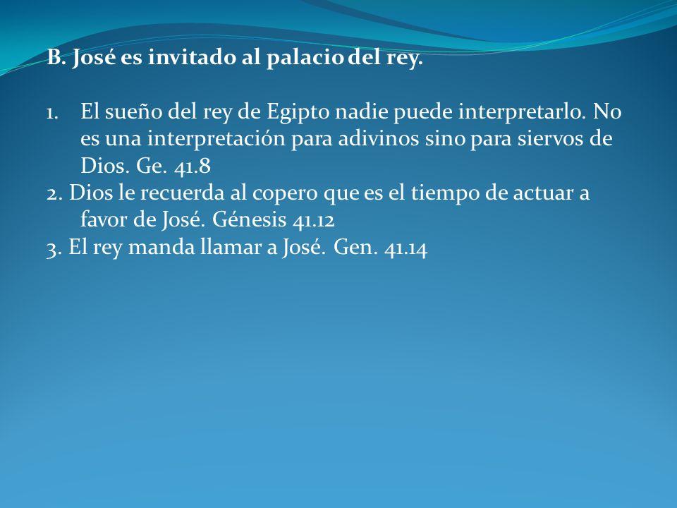 B. José es invitado al palacio del rey.