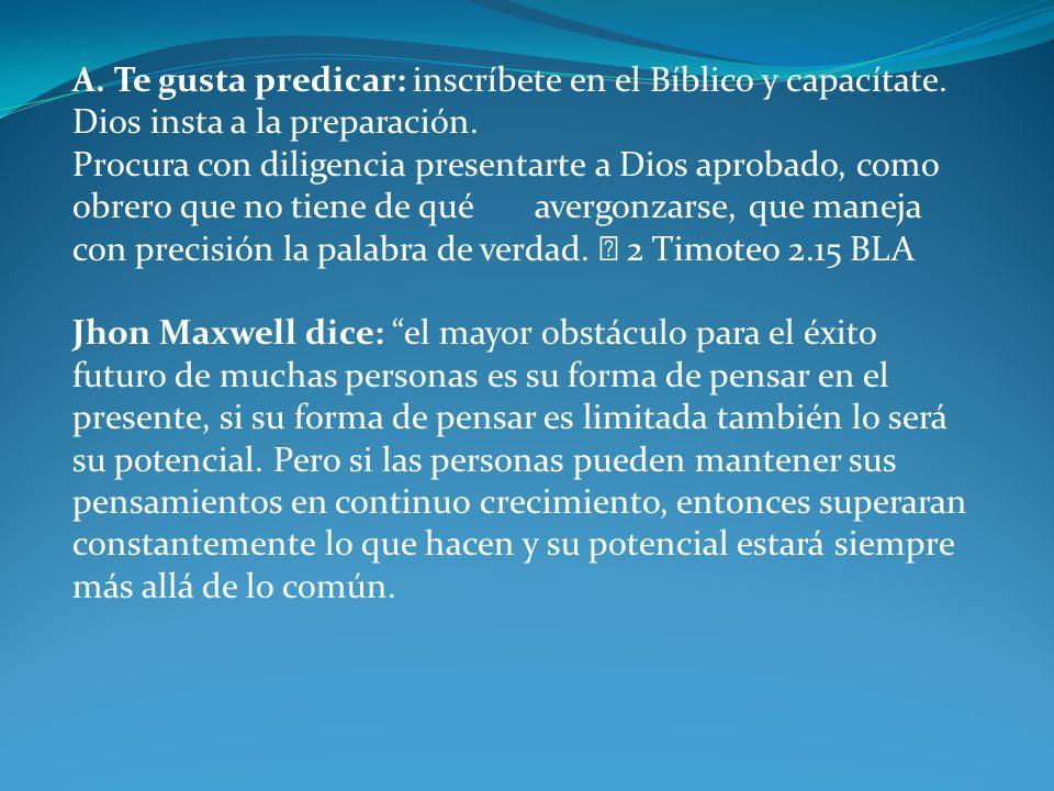 A. Te gusta predicar: inscríbete en el Bíblico y capacítate