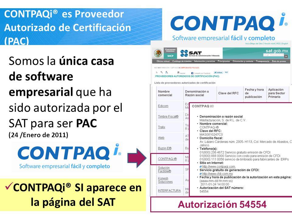 CONTPAQi® es Proveedor Autorizado de Certificación (PAC)