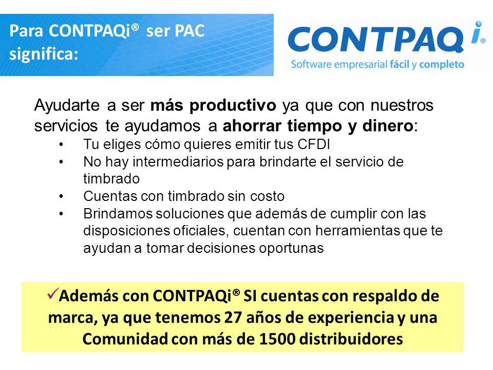 Para CONTPAQi® ser PAC significa: