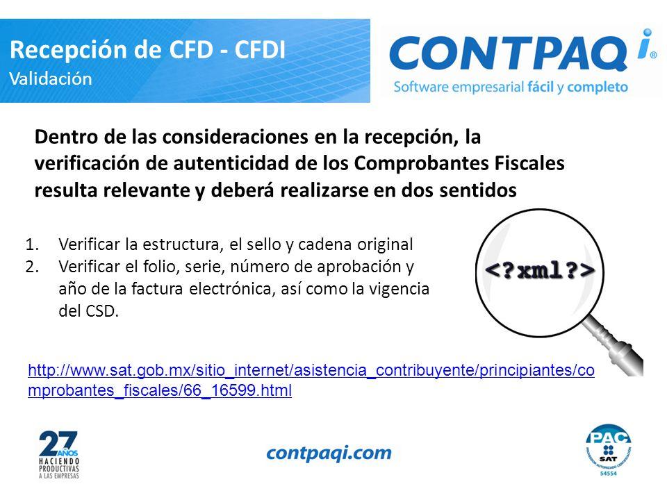Recepción de CFD - CFDI Validación