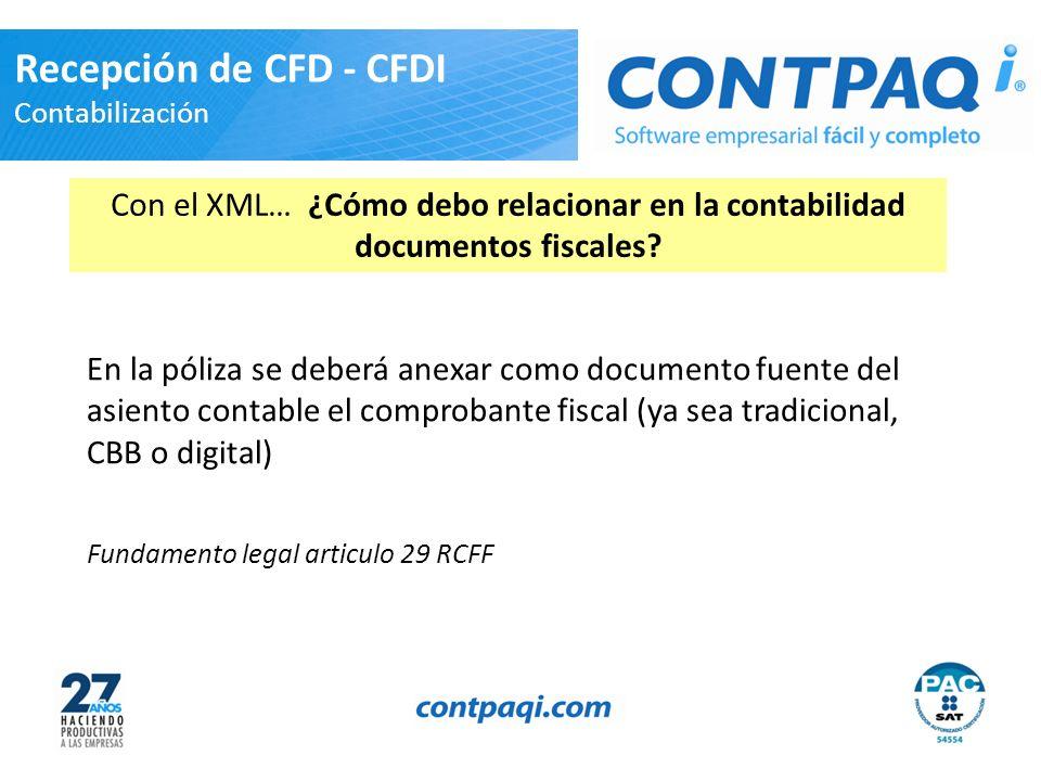 Recepción de CFD - CFDI Contabilización