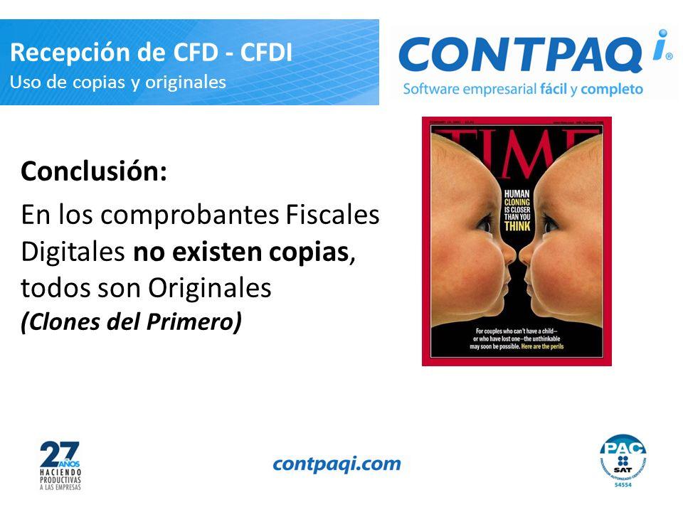 Recepción de CFD - CFDI Uso de copias y originales