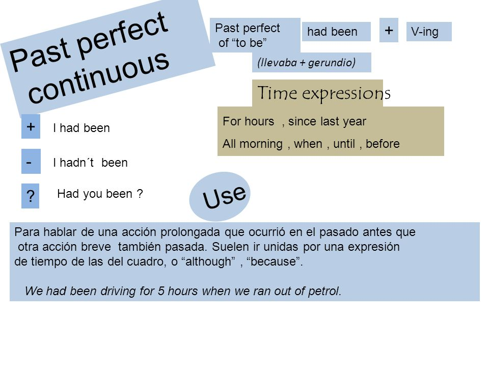 Past perfect continuous Use Time expressions + + - Past perfect