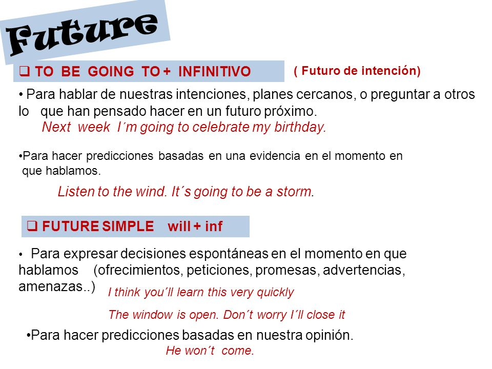 Future TO BE GOING TO + INFINITIVO