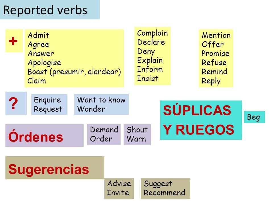 + Reported verbs SÚPLICAS Y RUEGOS Órdenes Sugerencias Complain