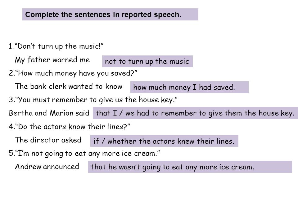 Complete the sentences in reported speech.