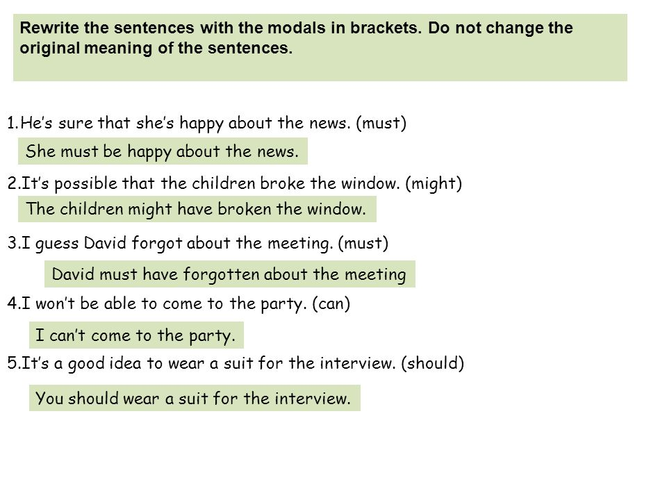 Rewrite the sentences with the modals in brackets