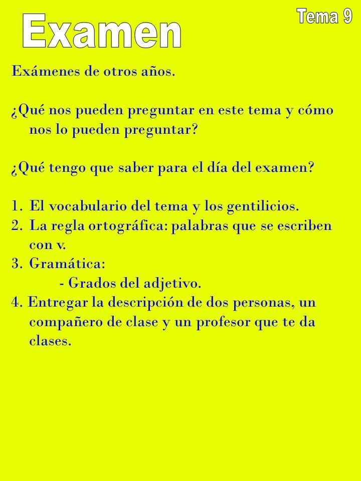 Tema 9 Examen Exámenes de otros años.