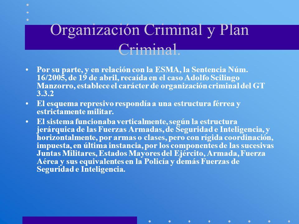 Organización Criminal y Plan Criminal.