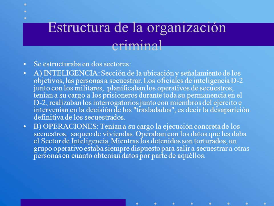 Estructura de la organización criminal