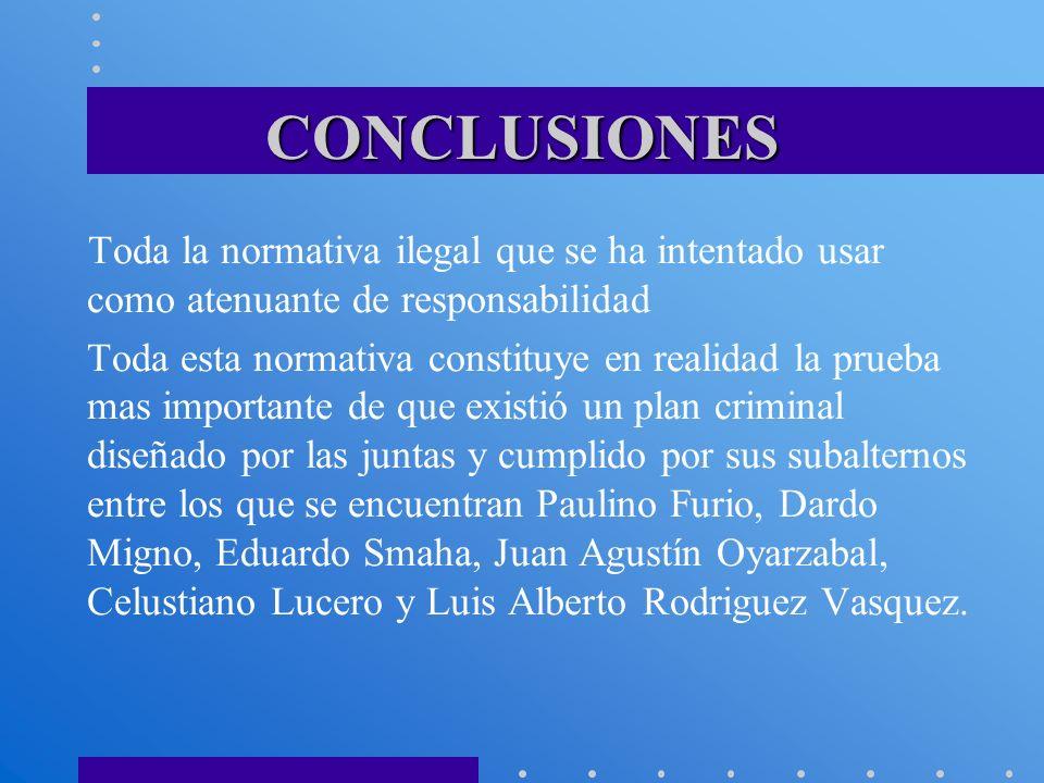 CONCLUSIONES Toda la normativa ilegal que se ha intentado usar como atenuante de responsabilidad.