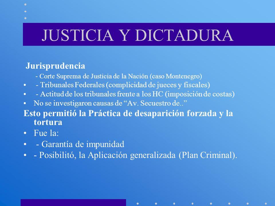 JUSTICIA Y DICTADURA Jurisprudencia