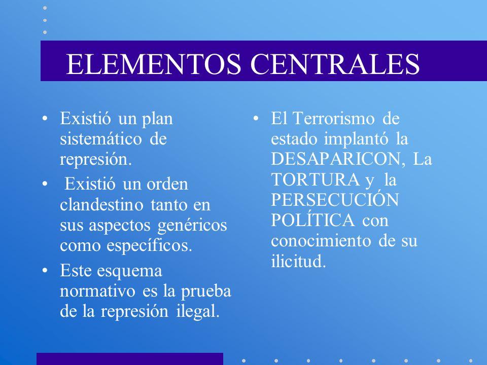 ELEMENTOS CENTRALES Existió un plan sistemático de represión.