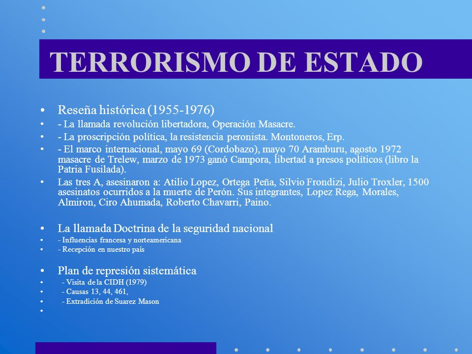 TERRORISMO DE ESTADO Reseña histórica (1955-1976)