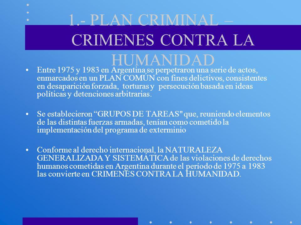 1.- PLAN CRIMINAL – CRIMENES CONTRA LA HUMANIDAD