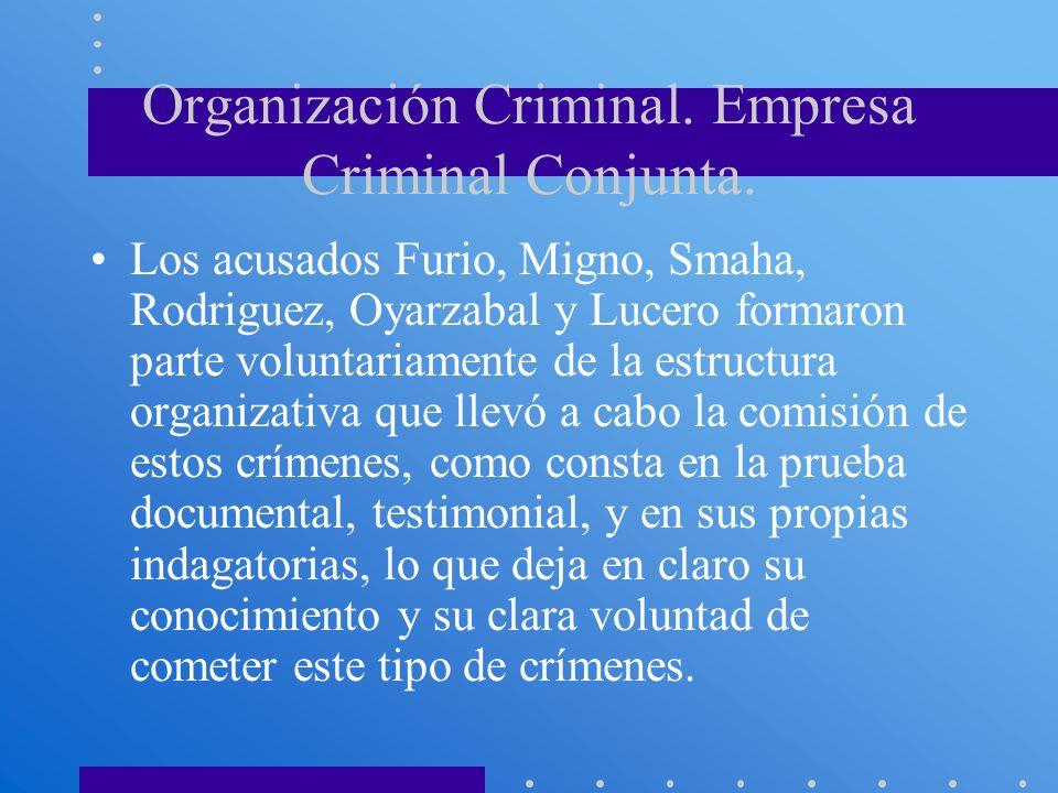 Organización Criminal. Empresa Criminal Conjunta.