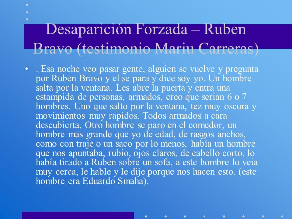 Desaparición Forzada – Ruben Bravo (testimonio Mariu Carreras)